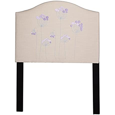 Target Marketing Systems Floral Height Adjustable Upholstered Linen Twin Headboard With Stemmed Flower Embroidery Twin Sand