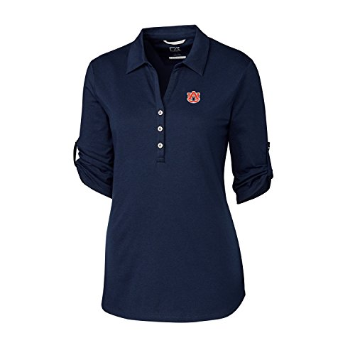 Cutter & Buck NCAA Auburn Tigers Adult Women 3/4 Sleeve Thrive Polo, Large, Liberty Navy ()