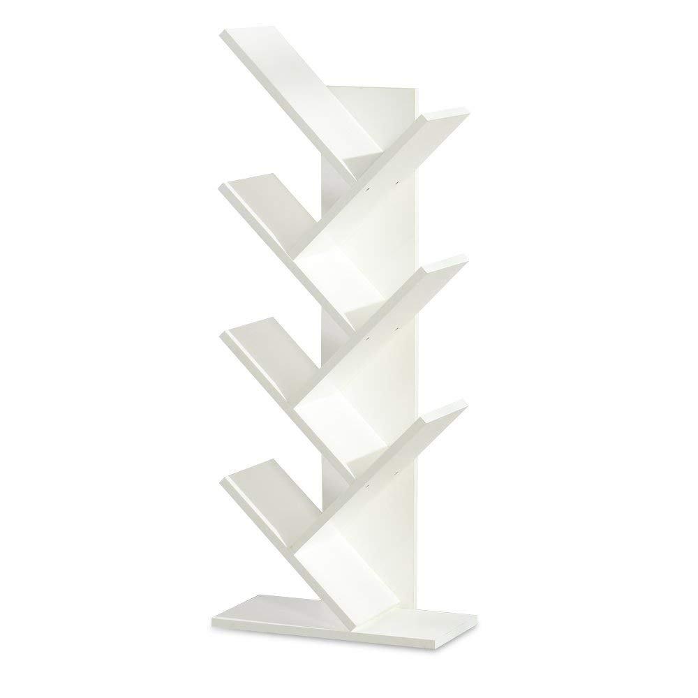 mailin Bamboo 7-Shelf Tree Bookshelf Book Rack Display Storage Organizer Bookcase Shelving Free Standing Bookshelves for CDs, Movies & Books Holder (White)