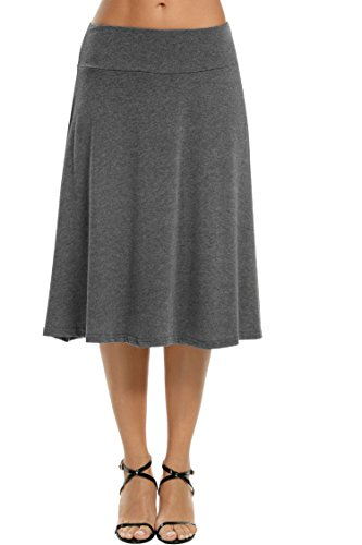 Fold Over Flare Skirt - Meaneor Women's Stretch Solid Basic Fold-Over Knee Length Flowy Skirt Charcoal S