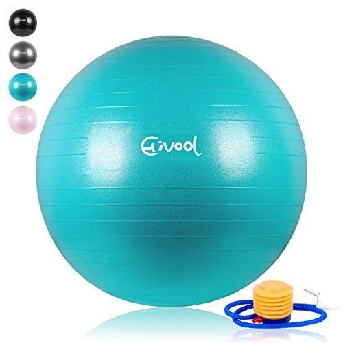 Hivool Exercise Ball(55-85cm) Thickened Anti-Burst Non-Slip Fitness Ball,Sports Gymnastics Balance Training Ball &Birthing,Therapy,Office Ball Chair with Quick Pump and Supports 2200lbs (Blue Bearing Ball)