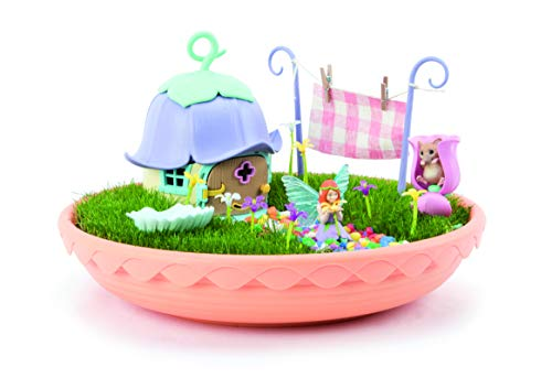 TOMY My Fairy Garden-Le Jardin Enchanted E72907 Figurine Fairy and Companion House to Assemble, Saucer, Seeds and Accessories - Multi-Coloured
