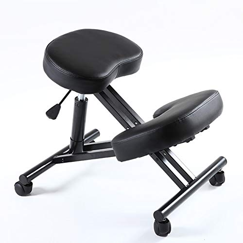 Ergonomically Designed Knee Posture Chair Leather Office Kneeling Chair Office with Orthopedic Back Pain Seat Adjustable Stool Thick Comfortable Cushions ()