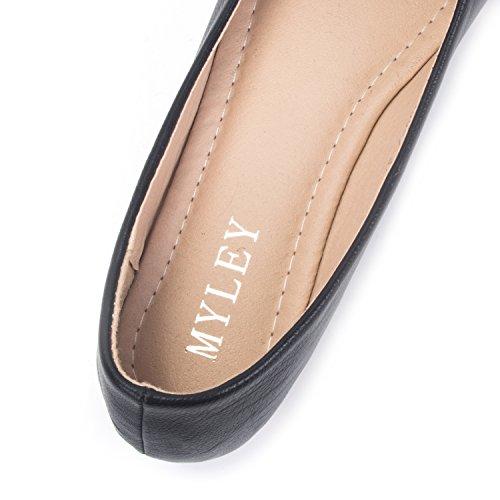 FLORATA Comfort Flat Shoes Casual Loafer Slip on Pumps Office Shoes Pregnant Woman Shoes SIZE(UK 4-6.5) Black WMsPTec