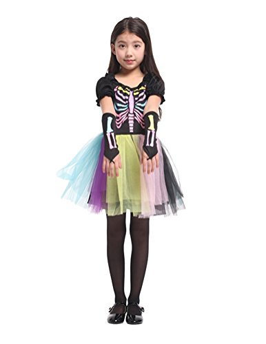 Nuoqi Girls Funky Punk Bones Child's Costumes Halloween Party Costumes