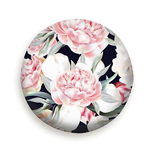YANAIX Vintage Pink Peony Leafs Floral Universal Spare Tire Cover Black 15inch ()