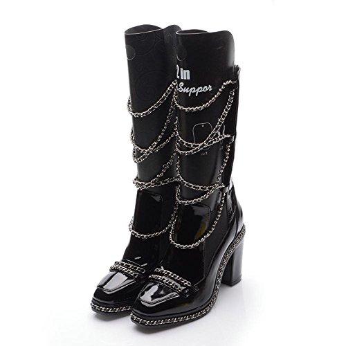 cadena cálido 39 BLACK 34 piel corto mujeres de altos de de Las BLACK tacones zapatos Martin botas wUqX7wA1
