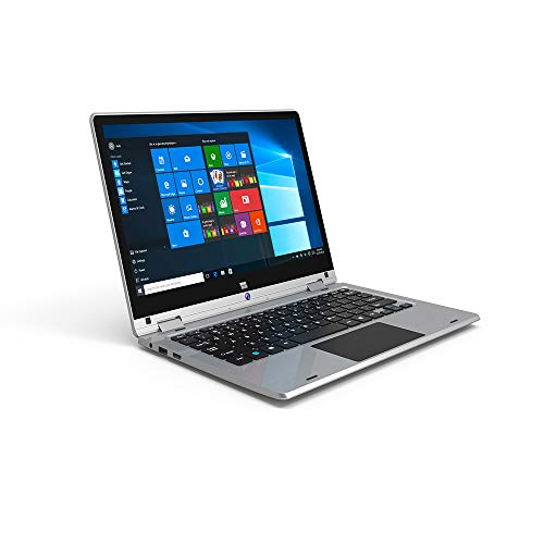 (ECVILLA K-Y116 11.6-Inch FHD 2-in-1 Touchscreen Laptop ( Intel Atom X5-Z8350 Quad Core 1.33GHz (max to 1.83GHz) 4GB LPDDR4 64GB eMMC, Lightweight Bluetooth WiFi HDMI Webcam Windows 10, Silver )