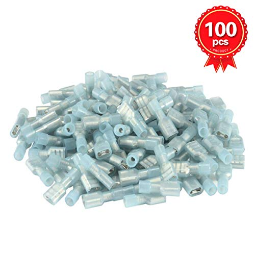 XHF2018 16-14 (A.W.G) Nylon Female Fully-Insulated Quick Disconnects Wiring Spade Wire Crimp Terminal Connectors 100pcs (Blue) (Female)