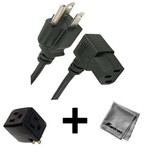 6FT Right Angled AC Power Cord for HP Pavilion Media Center TV m8040n Desktop PC + 3 Outlet Adapter