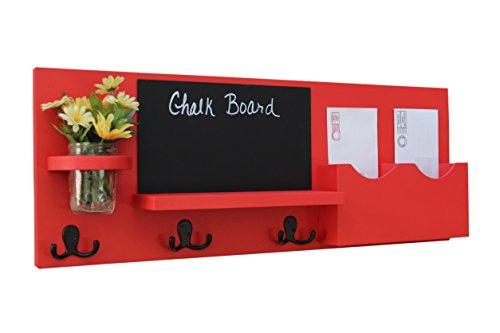Legacy Studio Decor Mail Organizer with Chalkboard Coat Hooks Key Hooks & Mason Jar (Smooth, Red) by Legacy Studio Decor