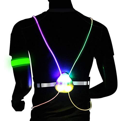 Togolo Illuminated & Reflective Vest and LED Armband with Multicolored LED Fiber Optics, Comfortable, Lightweight, Adjustable, Weatherproof Gear for Running, Hiking, Jogging & Biking (Colorful, M) ()