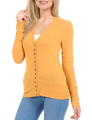 ClothingAve. Womens Snap Button Sweater Cardigan Ribbed Detail Collection (S-3X)
