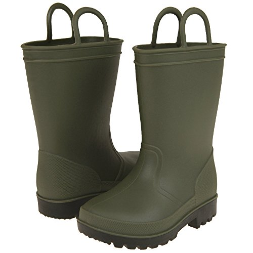 Capelli New York Matte Solid Opaque Toddler Boys Rain Boot Olive 4/5 (Olive Opaque Matte)