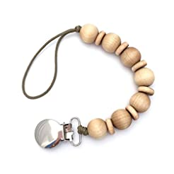 Natural Wood Beaded Pacifier Holder Clip...