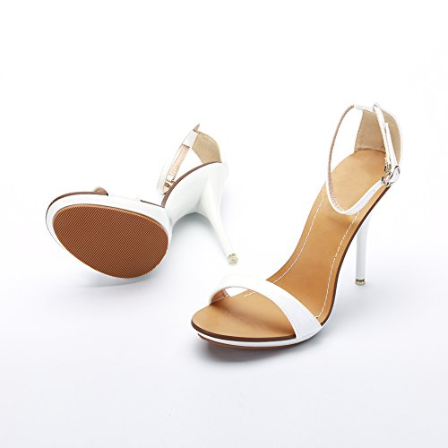 Fibbia Sandali con Cinturino alla Donna Bianco OCHENTA Chiusura Estivi per Stiletto Caviglia 8qnBdFpAW