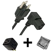 6FT Right Angled AC Power Cord for BENQ RL2455HM LCD LED Monitor + 3 Outlet Adapter