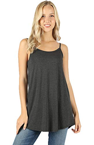 Melody Women Front and Back Reversible Lightweight Loose Flare Camisole Tank top (Charcoal, Large)