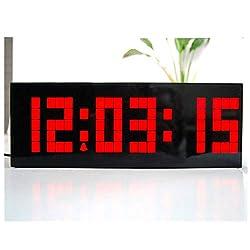 LED Electronic Lattice Alarm Clock, Large Big 4 6 Digit Jumbo LED Digital Alarm Calendar Silent Luminous Digital Timer (Red)