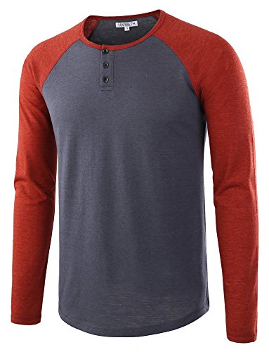 HARBETH Men's Casual Long Sleeve Henley Shirt Raglan Fit Baseball T-Shirts Tee Cadet Blue/Rusty M