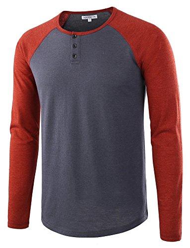 - HARBETH Men's Casual Long Sleeve Henley Shirt Raglan Fit Baseball T-Shirts Tee Cadet Blue/Rusty M