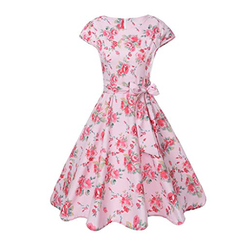 iYBUIA Autumn Women Vintage Bodycon Short Sleeve Casual Retro Evening Party Prom Pleated Swing Dress With Sashes(Pink,L) -