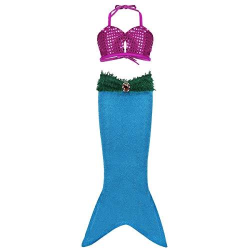Freebily 2pcs Girls Sequined Little Mermaid Tails Dress Ariel Costume Princess Halloween Party Swimwear Swimsuit Bathing Suit (10, Lake Blue Mermaid Tail Bikini Set)