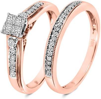 Amazon Com 1 3 Carat T W Diamond Ladies Bridal Wedding Ring Set