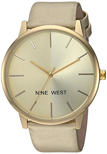 Nine West Women's Gold-Tone Strap Watch ()