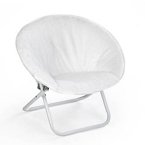 American Kids Super-fun,, Foldable for Easy Storage Faux Fur Saucer Chair in White