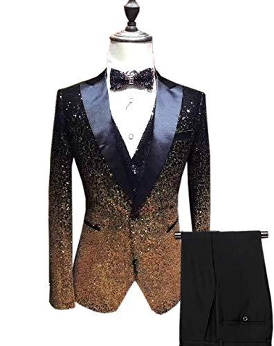 (Vincent Bridal Men's Suits 3 Pieces Slim Fit Shiny Gradually Changing Color Mens Suit One Button Groom Tuxedo(44)