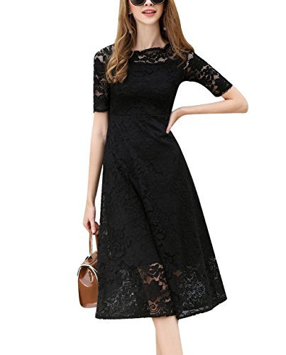 HOSBY Women One Shoulder Neck Short Sleeve Slim Lace Mid-Long Dress