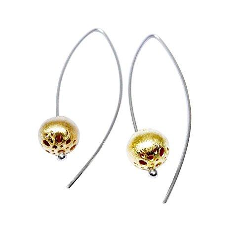(18k Gold Plated Artistic Filigree Ball Long Hook Dangle Earrings, Handmade in Peru by Claudia Lira )