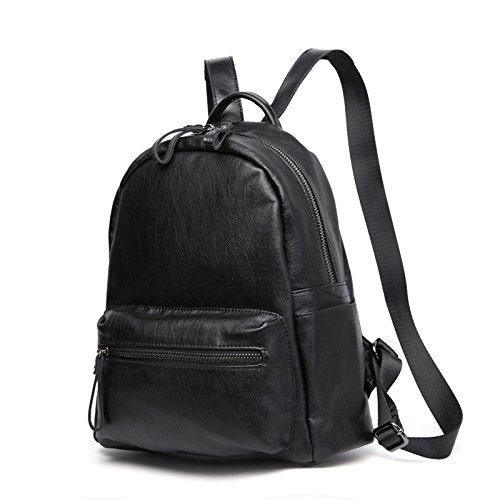 Sprnb Bolsa de cuero, cuero de vaca, de oveja, mochila al hombro, bolsa de deportes, negro Black