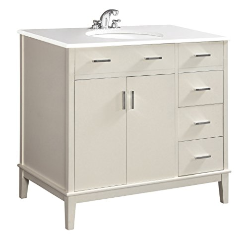 Simpli Home Urban Loft 36 inch Bath Vanity with White Engineered Quartz Marble Top, Off White