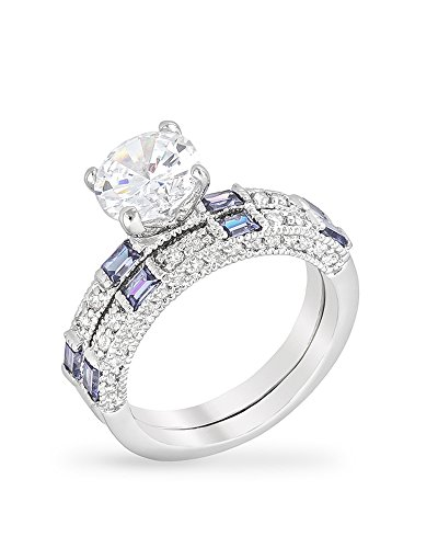 Rhodium Plated Tanzanite Purple Ring Set with Clear and Blue Round and Emerald Cut Cubic Zirconia Size (Cubic Zirconia Tanzanite Jewelry Set)