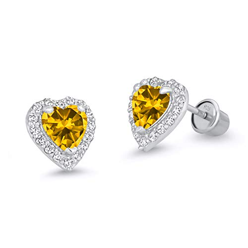 925 Sterling Silver Rhodium Plated Yellow Heart Cubic Zirconia Screwback Baby Girls Earrings ()