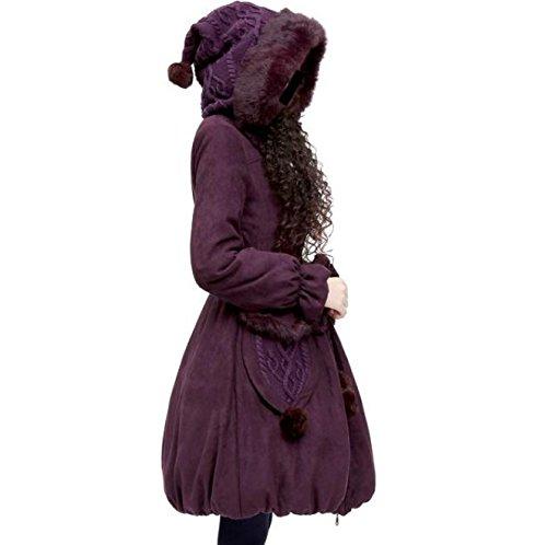 Coat Big Solid Hat Warm M Loose Jacket Purple Pocket Pendulum Belt Lapel Color DYF 5qFTwn18q