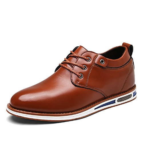 Meeshine Men's Modern Leather Lace-up Flat Oxford Sneakers - Men Casual Sneakers
