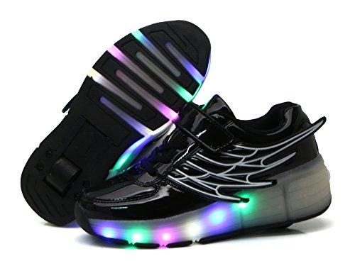 Mr.Ang con Luces LED Coloridos Parpadeante Neutra ruedas de Patines de Rueda Patín Zapatos Zapatos del Patín Zapatos Deportivos Niños y Niñas de Calzado Deportivo Zapatos de Skate K02 Noir