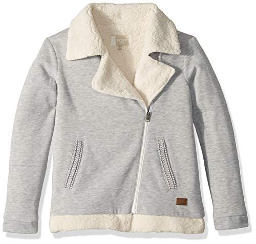 (Roxy Big Girl's Elephant Child Sherpa Lined Fleece Jacket Sweater, Heritage Heather, 10/M)