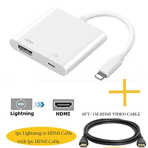 Lighting to HDMI 8Pin with HDMI Video Cable 2PACKS, Lighting to Digital AV HDMI Adapter, HDMI & Charging Port 2 in 1 Adapter for HD TV Monitor Projector 1080P, Compatible iPhone, iPad, iPod