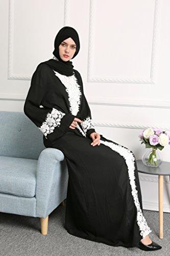 YI HENG MEI Women's Elegant Long Sleeve Muslim Maxi with White Lace Hem for Islamic Abaya,Black,L by YI HENG MEI (Image #4)