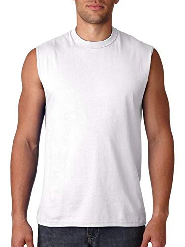 Jerzees Sleeveless T-Shirt (49M) Z Cotton Muscle Tee Available in 9 Colors - White 49M ()