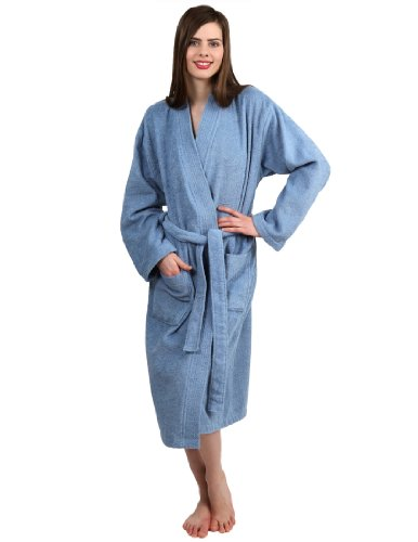 TowelSelections Women's Robe Turkish Cotton Terry Kimono Bathrobe Small/Medium Blue