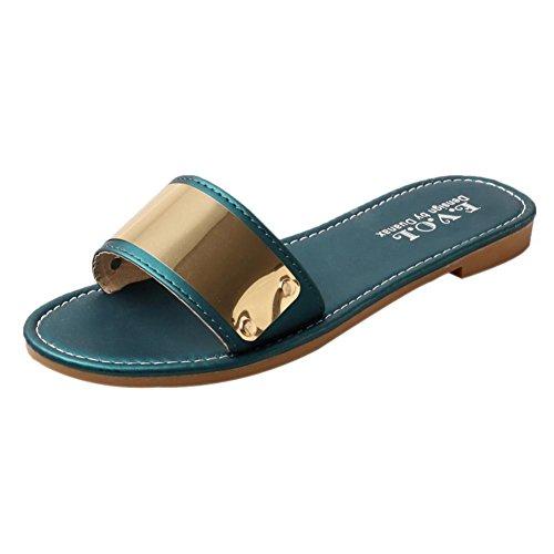 Sandalias para Mujer, RETUROM Zapatos planos de las sandalias de la muchacha para la playa Verde
