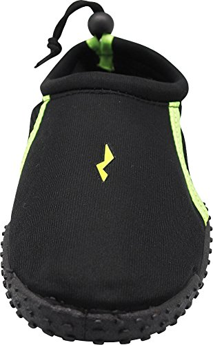 NORTY Herren Aqua Socke Wave Water Schuhe - 4 Farbkombinationen - Wasserdichte Slip-Ons für Pool, Strand und Sport Schwarz / Lime