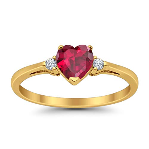 (925 Sterling Silver Promise Ring Heart shape Simulated Ruby Yellow Tone Rhodium PL round clear CZ accent )