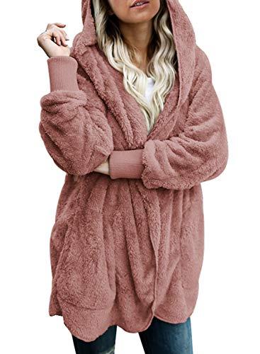 Dokotoo Womens Cozy Ladies Fashion Oversized Fuzzy Fluffy Fleece Winter Fall Open Front Long Sleeve Fleece Hoodies Cardigan Sweater Jackets Coat Outwear Pink XX-Large