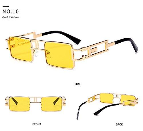 luneta Soleil De del marca sol vapor de del amarilla Hykis hombres dise con de la ador Gafas Protecci¨®n Cuadrado la metal punk manera marco UV sol de vendimia wnFnx4qXST